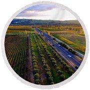 Livermore Wine Country--las Positas Winery Round Beach Towel