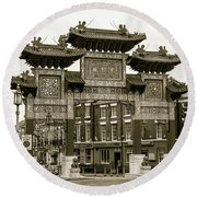 Liverpool Chinatown Arch, Gate Sepia Round Beach Towel