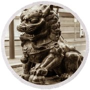 Liverpool Chinatown - Chinese Lion A Round Beach Towel