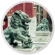 Liverpool Chinatown - Chinese Lion D Round Beach Towel