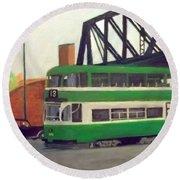 Liverpool Tram 1953 Round Beach Towel