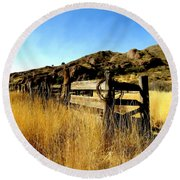 Livery Fence At Dripping Springs Round Beach Towel