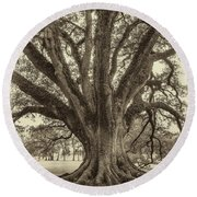 Living History Sepia Round Beach Towel