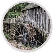Cable Mill Gristmill - Great Smoky Mountains National Park Round Beach Towel