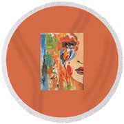 Living In Color Round Beach Towel