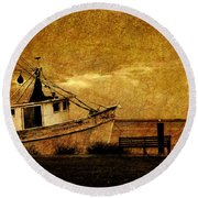 Living In The Past Round Beach Towel