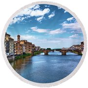 Living Next To The Arno River Round Beach Towel