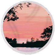Living Room View, Photograph Round Beach Towel