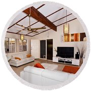 Living Room With Sloping Ceiling Round Beach Towel