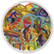 Living Together Round Beach Towel