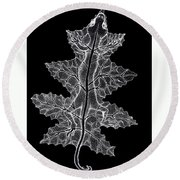 Lizard And Leaf Round Beach Towel