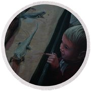 Lizards At The Zoo Round Beach Towel