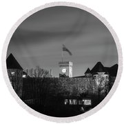 Ljubljana Castle In Black And White Round Beach Towel