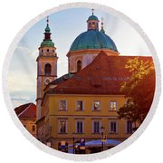 Ljubljana Church And Square Sunset View Round Beach Towel