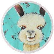 Llama Sue Round Beach Towel