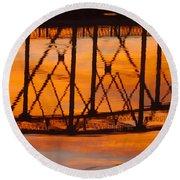 Llano Bridge Reflection Round Beach Towel