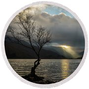 Llyn Padarn Sunrays Round Beach Towel