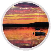 Loan Boat On A River At Sunset Round Beach Towel