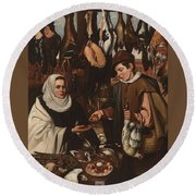 Loarte, Alejandro De Madrid , 1590 - Toledo, 1626 The Poultry Vendor 1626. Round Beach Towel