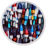 Lobester Trap Bouys Round Beach Towel by Garry Gay