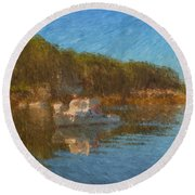 Lobster Boat Boothbay Harbor Round Beach Towel