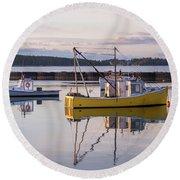 Lobster Boat Jonesport, Maine  Round Beach Towel