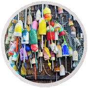 Lobster Buoys And Nets - Maine Round Beach Towel