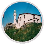 Lobster Cove Lighthouse Round Beach Towel