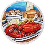 Lobster Dinner Round Beach Towel