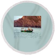 Lobster Fishing Boat Round Beach Towel