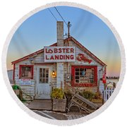 Lobster Landing Sunset Round Beach Towel