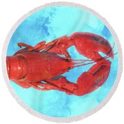 Lobster On Turquoise Round Beach Towel