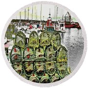 Lobster Pots Kilmore Quay, Wexford, Ireland, Poster Effect 1a Round Beach Towel
