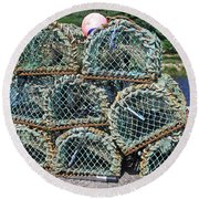 Lobster Pots Round Beach Towel