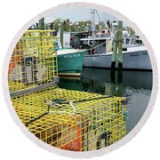 Lobster Traps In Galilee Round Beach Towel