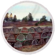 Lobster Traps Round Beach Towel by Jeff Kolker