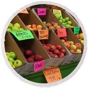 Local Apples For Sale Round Beach Towel
