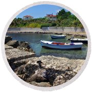 Local Boats In Harbour Round Beach Towel