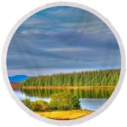 Loch Kinardochy Reflections Round Beach Towel