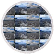 Loch Ness In Squares Round Beach Towel