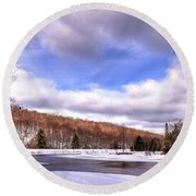 Lock And Dam Snowscape Round Beach Towel