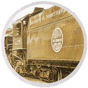 Locomotive And Coal Car Of Yesteryear Round Beach Towel