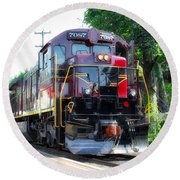 Locomotive In Color Round Beach Towel