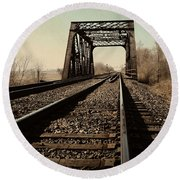 Locomotive Truss Bridge Round Beach Towel