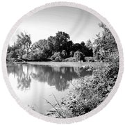 Lodi Pig Lake Reflections B And W Round Beach Towel