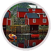 Lofoten Fishing Huts Oil Round Beach Towel