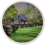 Log Cabin, Smoky Mountains, Tennessee Round Beach Towel
