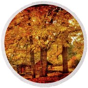 Log Cabin At  Ringwood Manor New Jersey Round Beach Towel