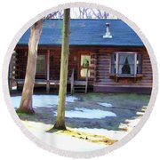 Log Cabin Round Beach Towel