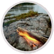 Log On Fire Manitoba Lake Wilderness Round Beach Towel